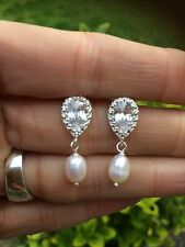 DESIGNER FRESHWATER PEARL DROP WEDDING EARRINGS STERLING SILVER CZ ZIRCONIA STUD
