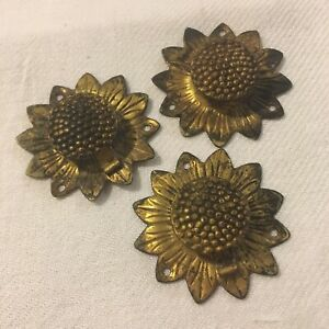 Vtg Antique Lot Gold Metal Hardware Furniture Trim SUNFLOWERS