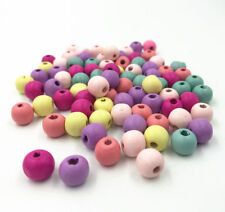 100pcs Mixed color Round Beads Makeing Necklace DIY Kids crafts Wood Beads 8mm
