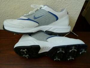 LN NIKE Men 8.5 White/Blue/Grey Leather Golf Sneakers Shoes 312398 Women 9.5/10?