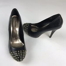 Madden Girl Black Faux Leather Studded Platform High Heel Shoes Womens Size 8.5