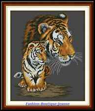 Kit broderie point de croix Le tigre ,Cross Stitch Kit , The tiger and a cub