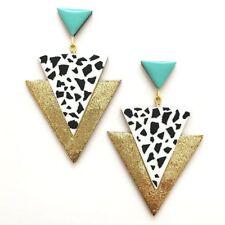 Handmade Prom Gold Teal Triangle Geometric Modern Statement Big Earrings Jewelry