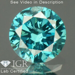 0.20 cts. CERTIFIED Round SI3 Vivid Sky Blue Color Loose Natural Diamond 24185