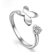 Jewelry Crystal Rhinestone Opening Ring Silver Plated Butterfly Shaped