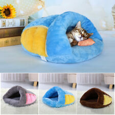Cat Cave Bed Gray Pet Puppy Dog Soft Warm Cave House Kennel Winter Sleeping Nest