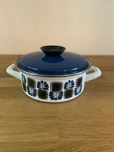 Vintage Enamel Pan Austria Email Retro 1960s Blue