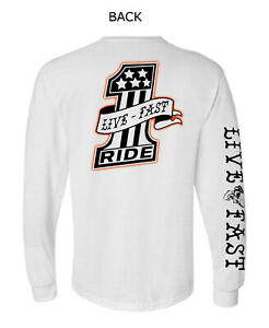 MOTORCYCLE LONG SLEEVE T-SHIRT GRAPHIC, LIVE FAST, RIDE, BIKER SKULL