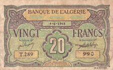 #Banque de Algeria 20 Francs 1948 P-103 AF+ Vichy Government