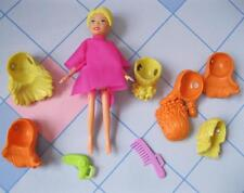 "4"" FASHION POLLY POCKET Beauty Shop Stylin Salon Doll with Wigs/Hair Pieces Lot"