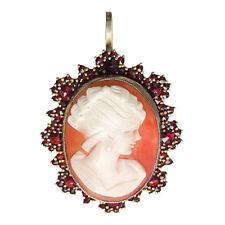 Vintage Silber Anhänger Granat Kamee vergoldet pendant garnet cameo 🌺🌺🌺🌺🌺