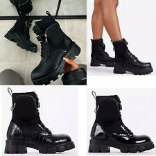 Womens Ankle Boots Chunky Sole Pouch Ladies Pocket Goth Punk Biker Shoes Size