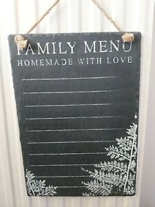 Family Menu , Homemade With Love, Hanging Slate Chalkboard. 24 x 34cm.