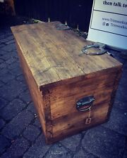 Antique Rustic Coffee Table Wooden Pine Chest Trunk Blanket Box Vintage Cottage