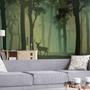VLIES FOTOTAPETE Wald Bäume Hirsche Rehe Vögel 1843 TAPETE WANDBILDER XXL