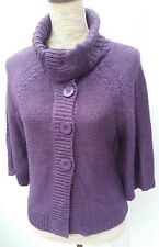 George Ladies Size 10 Purple Cowl Neck Short Button Cardigan Autumn Knit Wear