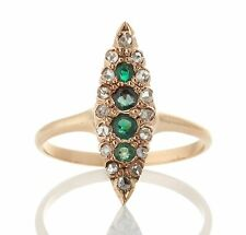 Antique Victorian 18k Gold Emerald Rose Cut Diamond Navette Ring 041417150