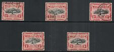 TONGA SCOTT 74 USED x 5 STOCK - 1942 1p SCARLET & BLACK ISSUE  CAT $13.75