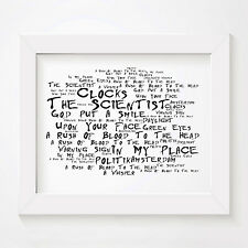 `Noir Paranoiac` Coldplay Art Print Typography Song Lyrics Signed Wall Poster