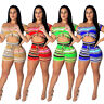 Summer Women New Sloping Shoulder Stripes Crop Top Short Pants Set Casual Outfit