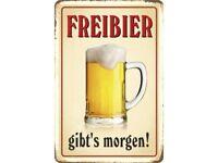 Freibier gibt's morgen ! Blechschild Schild gewölbt Metal Tin Sign 20 x 30 cm