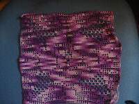 Hand Crochet Square Doily Variegated Purple 9 Inch x 10 Inch Filet Crochet Rose