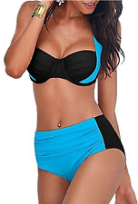 Windowpane Push Up Padded Halter Bikini Large (L) Swimsuit Blue / Black