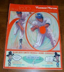 EXTREMELY RARE VINTAGE 1970 TUCSON TOROS BASEBALL PROGRAM & GAME DAY ROSTER