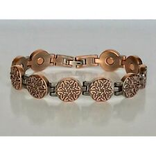 COPPER HIGH POWER MAGNETIC BRACELET WITH CELTIC DESIGN MAGNET IN EVERY LINK 6476
