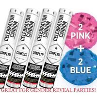 4Pk Baby Gender Reveal Pink Its A Girl, Blue Its A Boy! Confetti Launcher Cannon