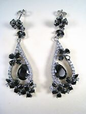 ONYX & CUBIC ZIRCONIA DANGLING EARRINGS