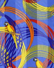 """Red Yellow Parrots Blue  Background  Satin Stripe 13"""" x 60 Long Scarf"""