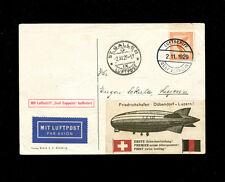 Zeppelin Sieger 45d  1929  Switzerland Flight  St Gallen drop  Bordpost zep card