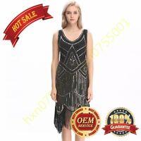 Vintage 1920s Flapper Gatsby Downton Abbey Fringe Beaded Dress Size 8-16