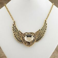 Antique Style Jewelry Hand Cast Angel Winged Heart Necklace