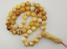 Islamic Prayer Tasbih Bead Natural Amber Baltic 32,1g Vintage Old White R-026