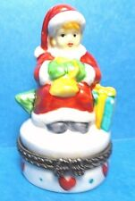 Vintage Small Santa Hinged Trinket Box