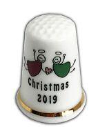 Personalised Christmas Angels 2019 Bone China Thimble, Christmas Stocking Filler