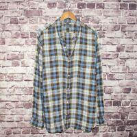 VINCE. Men's 100% Linen Button Down Shirt Brown Blue Plaid Sz 2XL