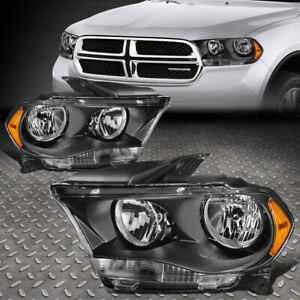 FOR 11-13 DODGE DURANGO BLACK HOUSING AMBER CORNER HEADLIGHT REPLACEMENT LAMPS