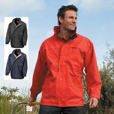 Mens Mans Waterproof BLACK RED OR BLUE Midweight Jacket Concealed Hood XS-3XL