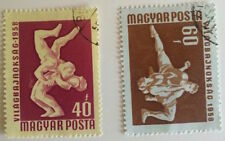 A pair of 1958 Wrestling stamps from Hungry