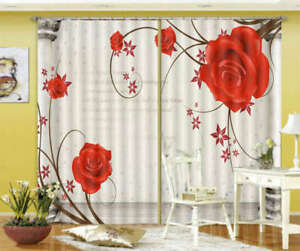 Red Exquisite Roses 3D Curtain Blockout Photo Print Curtains Drape Fabric Window