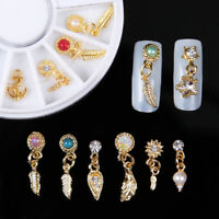 12pcs Nail Art 3D Charms metal Feather Leafs Pendant Rhinestone Gems Pearl decor