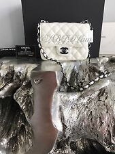 NWT CHANEL 2017 Square Classic Mini Flap WHITE SO BLACK Calf Caviar Crossbody