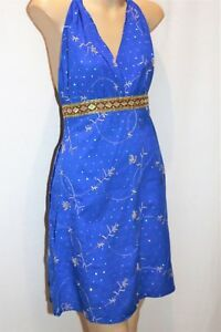 PURE HYPE Brand Blue Cotton Embroidered Halter Dress Size S BNWT #TC76