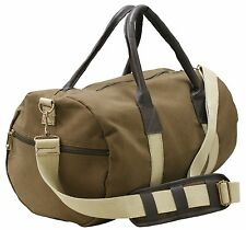 Vintage Canvas Duffle Leatherette Carry Shoulder Gym Sport Travel Luggage Bags