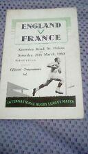 England v France 1960 Programme