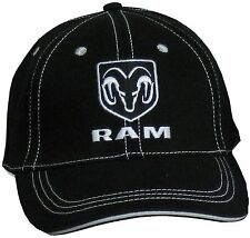 Dodge Ram Black Hat with White Stitching Cotton Licensed Embroidered