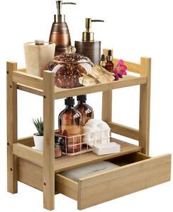 Sorbus Bamboo 2 Tier + Drawer Kitchen & Bathroom Countertop Storage Organizer